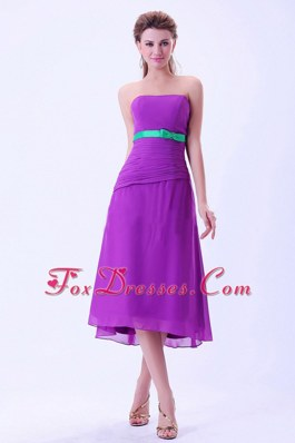 Chiffon Purple Bridemaid Dress with Green Belt