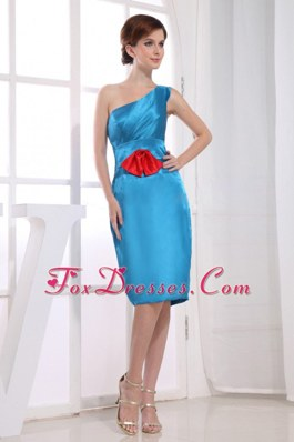 Sheath One Shoulder Knee-length Dama Dress Taffeta Teal