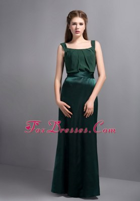 Dark GreenSquare Floor-length Taffeta and Chiffon Dama dresses