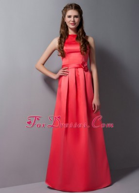 Rust Red Column Bateau Taffeta Sash Dama Dress Floor-length
