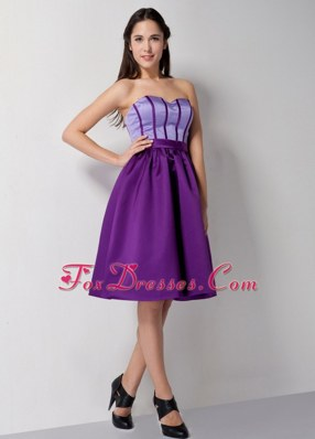 Purple A-line Knee-length Satin Dama Dresses Sweetheart