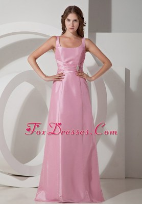 Rose Pink Square Neck Floor-length Taffeta Beading Dama Dress