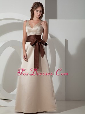 Grey A-line V-neck Floor-length Taffeta Sash Bridesmaid dresses