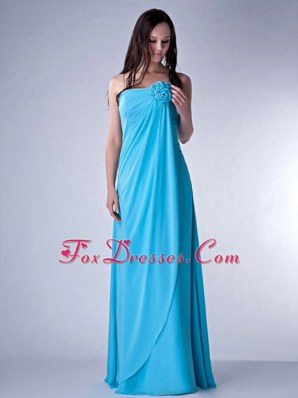 Teal Strapless Floor-length Chiffon Hand Made Fowers Bridesmaid dresses
