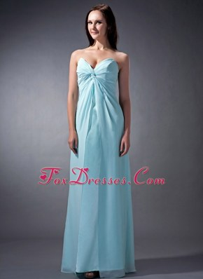 Baby Blue Cloumn Sweetheart Floor-length Chiffon Bridesmaid Dress