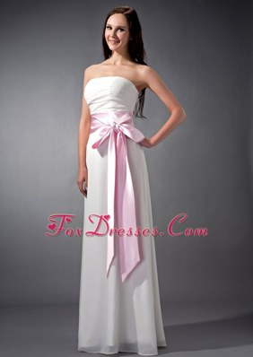 White and Baby Pink Empire Strapless Chiffon Bridesmaid dresses