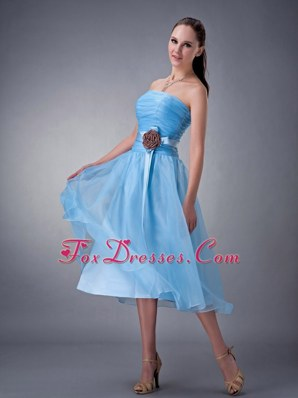 Baby Blue A-line Strapless Tea-length Chiffon Sash Bridesmaid dresses