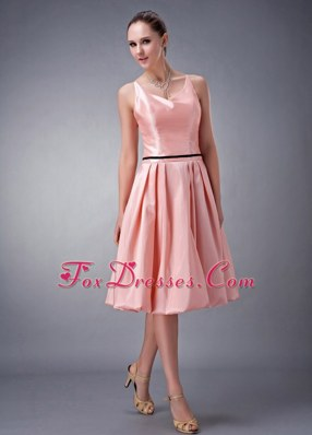 Watermelon A-line V-neck Knee-length Sash Bridesmaid dresses