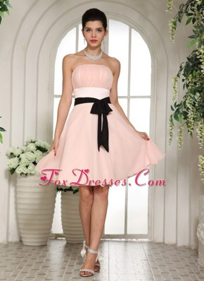 Baby Pink Bridesmaid dresses With Black Sash Knee-length