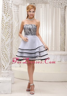 Grey Zebra Dama Dresse Mini-length A-line Tiered Strapless