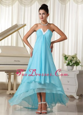 2013 Dama DressLovely Natural Waist Baby Blue High-low