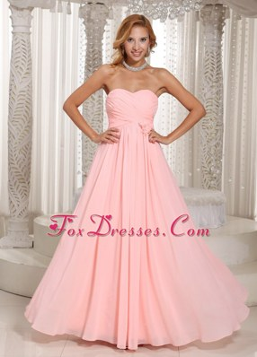 Baby Pink Stylish Bridesmaid Dress Ruched Bodice in 2014