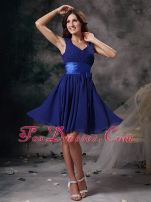 Blue Dama Dresses Column V-neck Mini Ruching