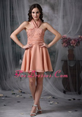 Rust Red A-line Halter Mini Dama Dresses Ruched