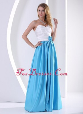 White and Aqua Blue Flower and Ruche Celebrity Dress