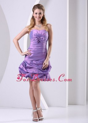 Lavender Ruched Bowknot Knee-length Cocktail Dresses