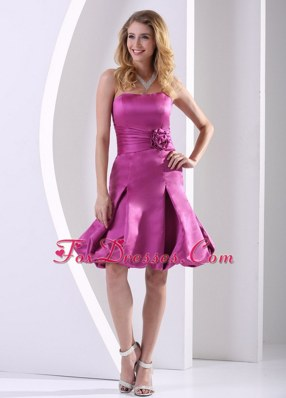 Fuchsia Strapless Cocktail Dresses Ruching Flowers