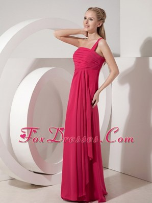 Coral Red Column One Shoulder Floor-length Dama Dress