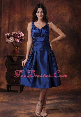 Royal Blue Dama Dresses With V-neck Tea-length