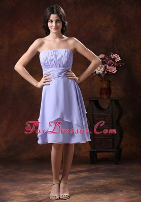 Lilac Strapless Short Dama Dresses for Quinceanera