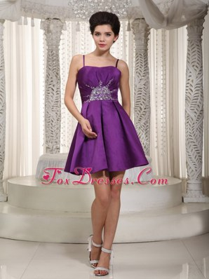 Purple Mini Dama Dresses A-line Straps Beading