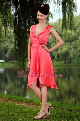 Coral Red Empire V-neck Knee-length Straps Dama Dresses