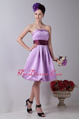Lavender Strapless Knee-length Dama Dresses with Sashes