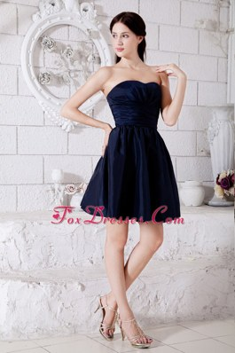 Navy Blue Princess Strapless Mini Dama Dresses