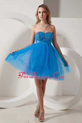 Blue Mini Beading Dama Dresses in Taffeta and Tulle