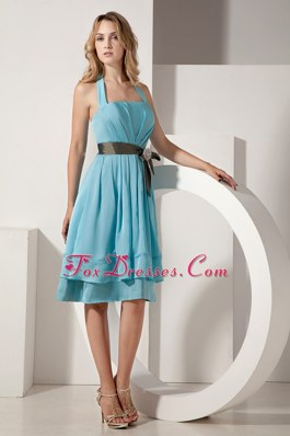 Halter Aqua Blue Ruche Dama Dresses for Quinceanera with Bow