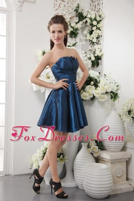 Short Navy Blue A-line Dama Dresses for Quinceanera Strapless Pleat