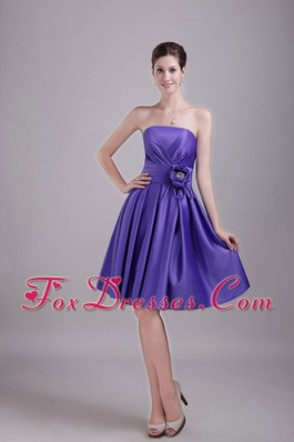 Princess Handle Flower Knee-length Dama Dresses for Sweet 16 Purple