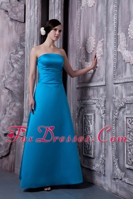 A-line Strapless Floor-length Sky Blue Bridesmaid Dresses Satin