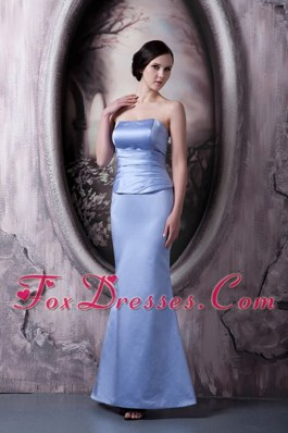 Mermaid Strapless Lilac Ankle-length Satin Ruche Bridesmaid dresses