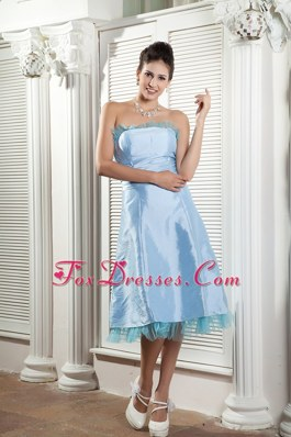 Baby Blue Strapless Ruche Dama Dresses for Quinceanera Tea-length