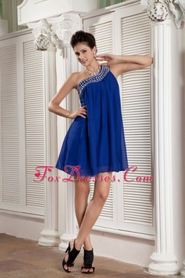 One Shoulder Mini-length Dama Dresses for Sweet 15 in Peacock Blue