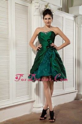 Dark Green Sweetheart Dama Dresses for Quince Mini-length Beading