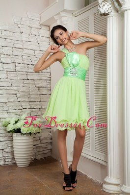 Yellow Green Beaded One Shoulder Dama Dresses for Quince