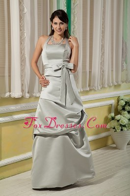 Cheap Halter Floor-length Pick-ups Bridesmaid dressess Bow