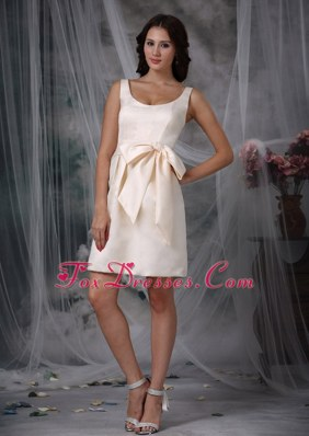 Bowknot Wide Straps Taffeta Dama Dresses for Quinceanera