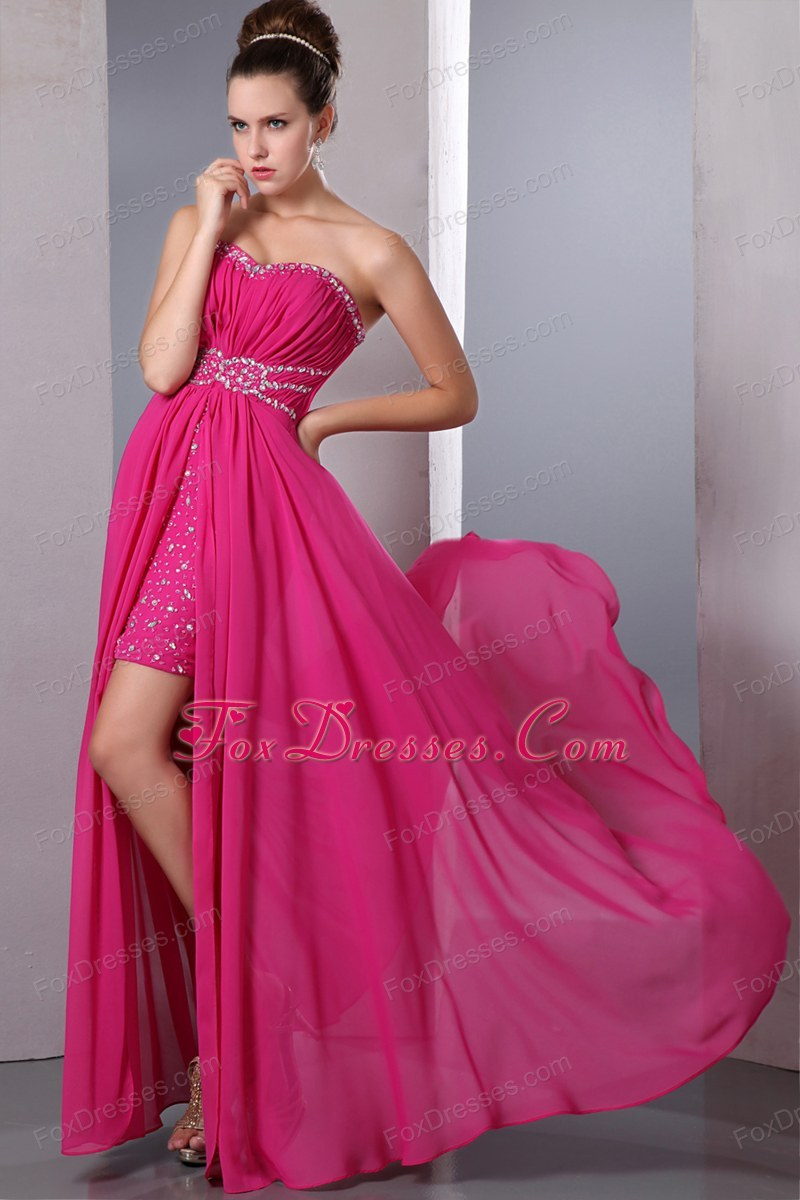 Hot Pink Column Chiffon Beading Prom Dress High-low