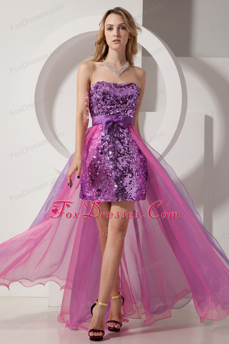 High-low Sequin Purple and Pink Column Prom Dress