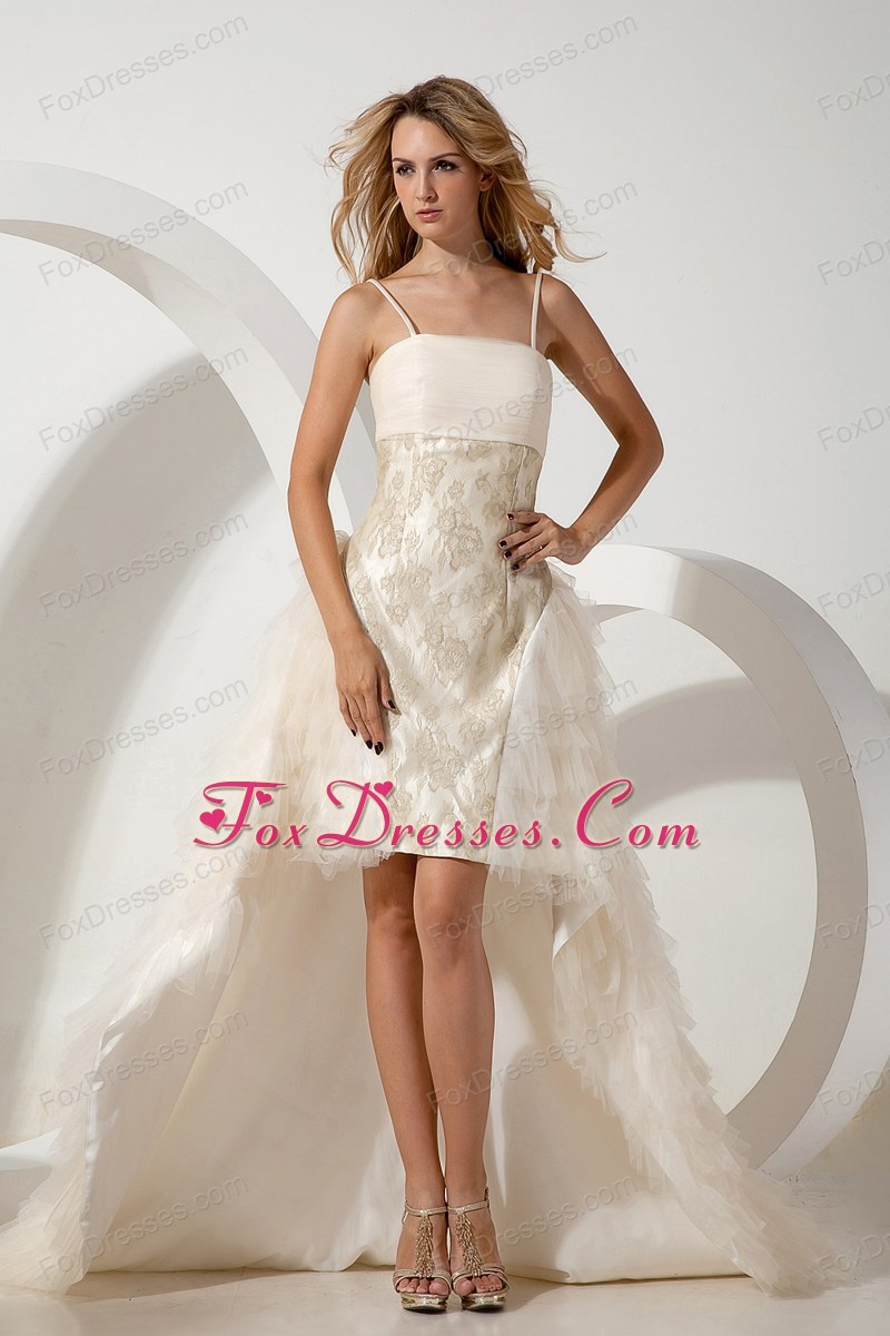 Straps High-low White Column Prom Dress Tulle