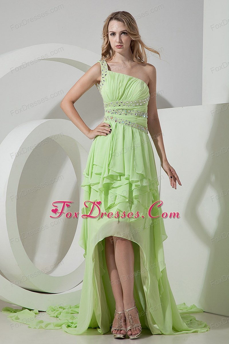 One Shoulder High-low Yellow Green Prom Dress