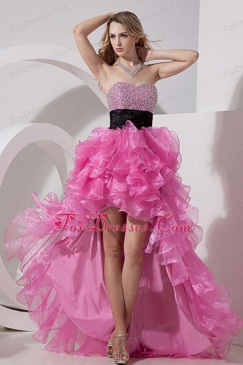 Sweetheart Beading Rose Pink Prom Dress High-low