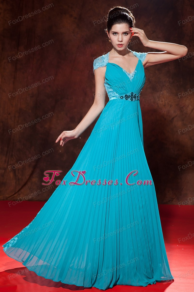 Designer Beading and Pleat Teal Prom Dress Empire Chiffon