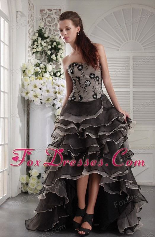 Brown Designer Sweetheart High-low Appliques Prom Party Dress
