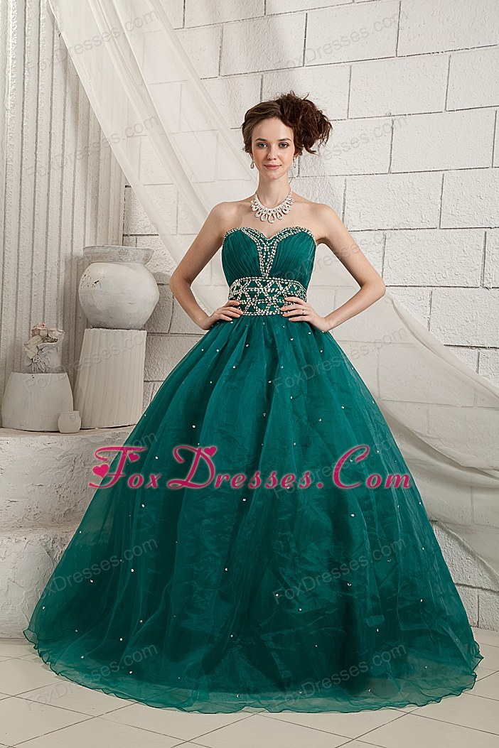 Dark Green A-line Sweetheart Brush Train Beading Prom Dress