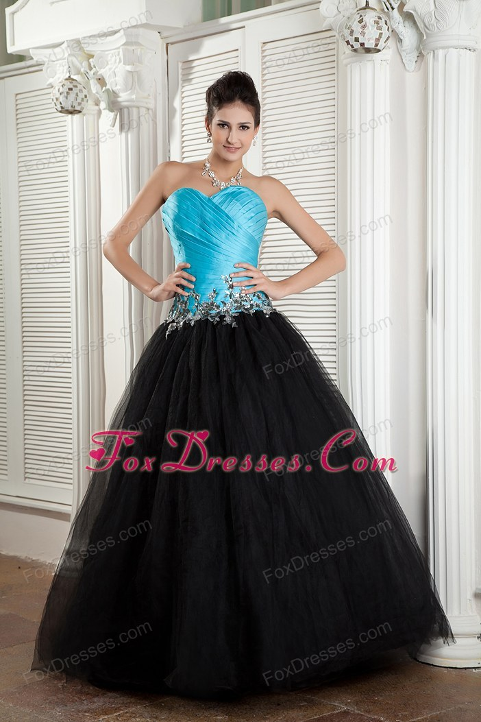 Blue and Black A-line Sweetheart Tulle Appliques Prom Dress