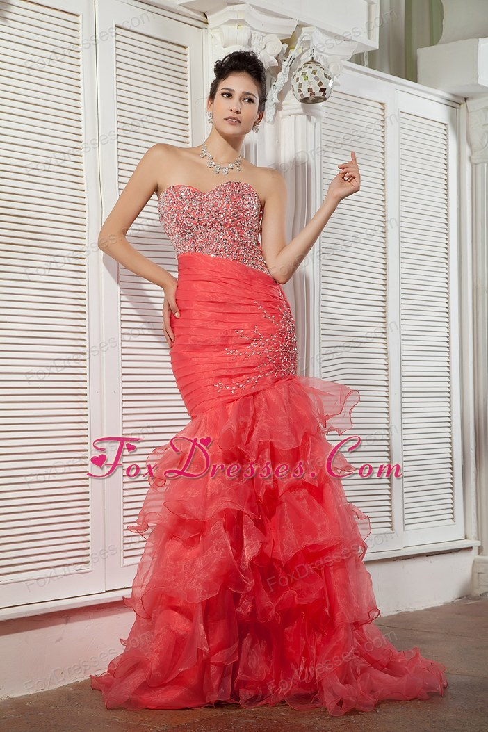 Sweetheart Mermaid Brush Designer Prom Dress Coral Red Beading